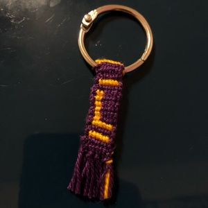"Purple and gold ""L"" key chain"